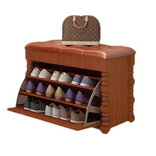 JBTM Zapateros con Asiento Banco De Almacenamiento De Zapatos De 3 Niveles Gabinete De Almacenamiento De Zapatos De Madera para El Hogar Pasillo De Entrada, Dormitorio, Sala De Estar,Marrón,80cm