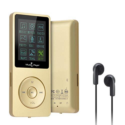 Lychee MP3 Litchi 70 Ore di Riproduzione Musicale MP3 Lossless Audio Ingresso Hi-Fi 8GB di Musica MP4 (Supporta Fino a 64 GB) (Oro)