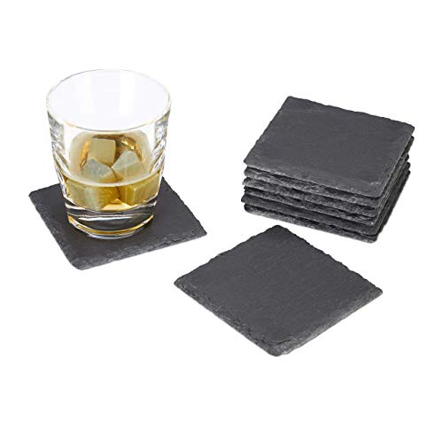 Relaxdays, grijze drankonderzetters leisteen set van 8, vierkant 10 x 10 cm, onderhoudsvriendelijke onderzetters, voor glazen, standaard