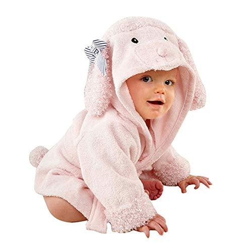 IVYSHION Hooded Handdoeken voor kinderen, 0 tot 18 maanden oud Premium Hooded Handdoek voor peuter Zeer absorberend Katoen Badjas voor Jongens Meisjes Roze Puppy