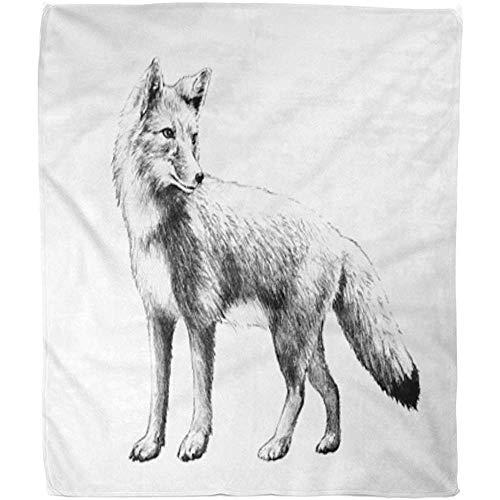 Fleece Blanket Grau Tier Fuchs Skizze In Bleistift Rot Stehend Zeichnung Wald Fuzzy Decke Decke Hotel Vlies Decke Bett Weich Büro Warm 102X127Cm Sofa Wohnzimmer