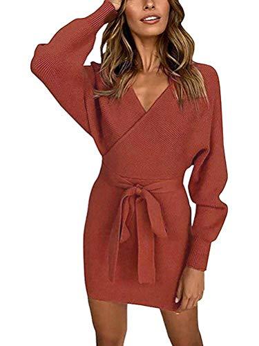 Damen Pullover Kleider Winterkleider Sexy Rückenfrei V-Ausschnitt Kleid mit Gürtel Langarm Jumper Sweatshirt Strickpullover Strickkleider Lose...