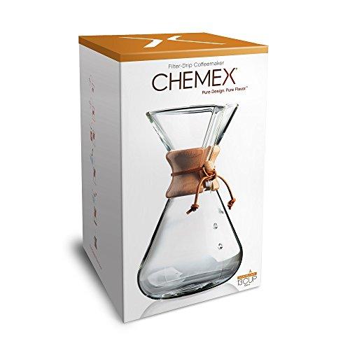 Chemex Hand Blown CM-4 | Cafetera de Filtro Manual de 13 Tazas | Vidrio soplado a Mano | Capacidad 1.9L