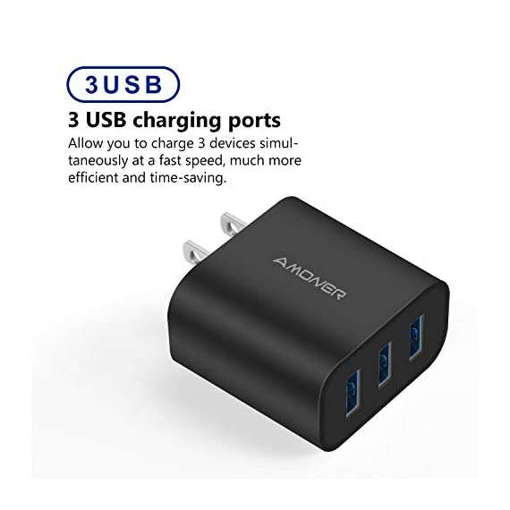 Wall Charger, Amoner Upgraded 2Pack 15W 3-Port USB Plug Cube Portable Wall Charger Plug for iPhone Xs/XS Max/XR/X/8/7/6/Plus, iPad Pro/Air 2/Mini 2, Galaxy9/8/7, Note9/8, LG, Nexus and More 5 Upgraded 15W 3-Port Wall Charger - The upgraded wall charger makes the power output more stable. CE/FCC certificated, built-in safeguards protect your devices against over-current, over voltage and short-circuit Upgraded Charging Technology - With Smart IC technology, the wall charger will automatically detect and provide the fastest possible charging speed up to 2A one port or 3A total Wide Compatibility - This Wall Charger can be used as iPhone wall charger, compatible with iPhone Xs,Xs Max, Xr, X, 8, 7, 6 Plus, Samsung Galaxy S10/S9/S8/Plus/S7/Note 8/9/7, Moto Z2/Z Force, LG V20/V30/G7/G6/G5, Lumia 950 & XL, Google Pixel 3/2 & XL; Kindles and more