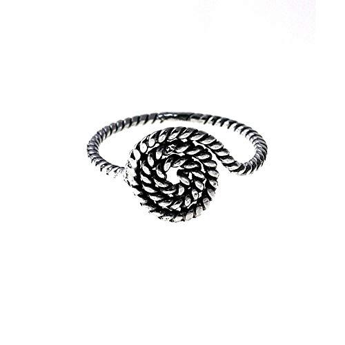 Sortija plata Ley 925m. mujer espiral hilo reliado oxidado