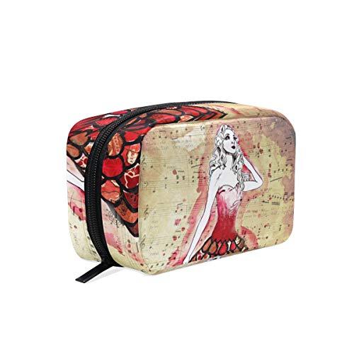 FANTAZIO Cosmetische Tassen voor Vrouwen Rode Jurk Prinses Make Up Pouches