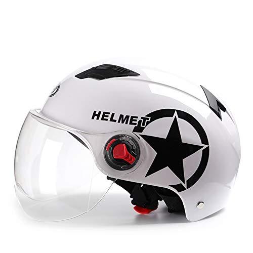 Galatée Erwachsenen Harley Motorradhelm Jet-Helm Scooter-Helm, Mode halboffener Helm mit Schutzbrille,Der stoßfeste belüftete Helm schützt die Sicherheit des Benutzers (Weiß, Transparente Linse)