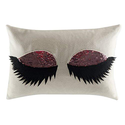 JWH 3D Long Eyelash Throw Pillow Cover Wool Decorative Accent Pillow Case Handmade Pillowcase Magical Reversible Sequins Cushion Cover Home Sofa Bed Room Office Chair Decor Gift 12 x 18 Inch