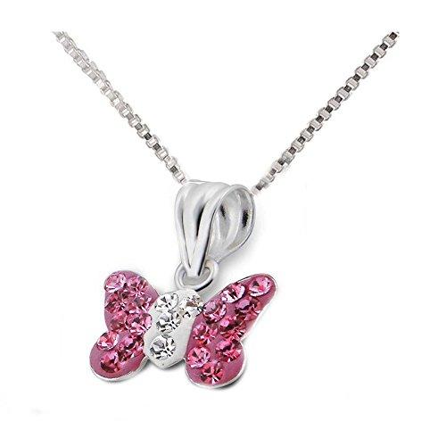 FIVE-D Set Kette Kinder Anhänger Schmetterling Kristalle 925 Silber im Schmucketui (Pink)