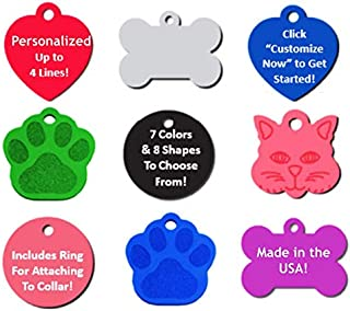 Pizza Money LLC Pet ID Tag Dog and Cat Personalized | Many Shapes and Colors to Choose from! | Strong Anodized Aluminum
