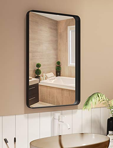 NXHOME Rectangle Metal Wall Mirror for Bathroom Wall Mounted Vanity Mirror Rounded -