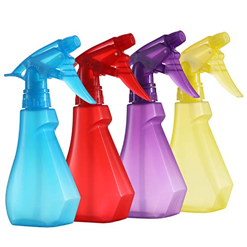 Pack of 4-8 Oz Empty Plastic Spray Bottles - Spray Bottle for Hair -Attractive Vibrant Colors - Multi Purpose Use Durable BPA Free Material