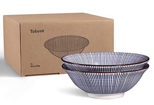 Urban Lifestyle 2 x Ramenschale aus Porzellan 20,5cm mit blau/weißem japanischen Tokusa-Muster