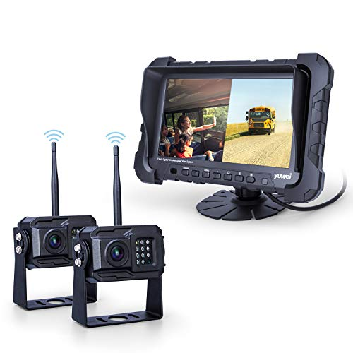 Yuwei Digital Wireless Backup Camera System,YW-77214 Dual HD 720P Camera Wireless Reverse System with Night Vision and Wide Viewing Angles, 7inch Wireless Monitor Split Screen for Trailer, RVs, Ca