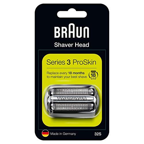 Braun Series 3 32S Testina Di Ricambio Per Rasoio Elettrico Uomo, Argento, Compatibile Con I Rasoi Series 3 ProSkin