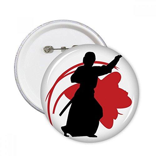 DIYthinker Botón Japón Asia Samurai Katana Sakura Parry Silueta pernos redondos Placa Ropa Decoración 5Pcs regalo XXL Multicolor