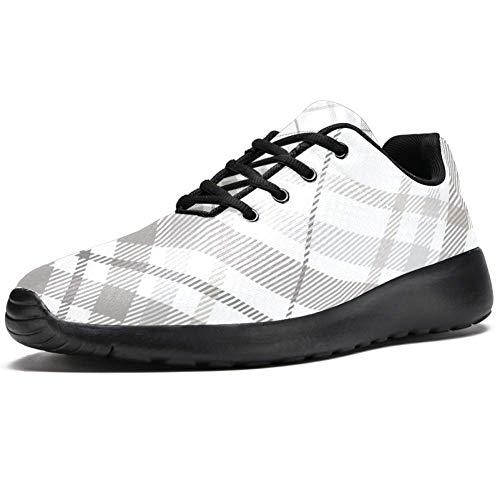 TIZORAX Zapatillas de correr para hombre, a cuadros, color gris pastel