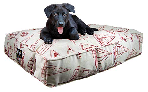 Bessie and Barnie Water Resistant Red Sail Boat Indoor/Outdoor Durable Rectangle Pet/Dog Bed with Removable Cover (Multiple Sizes)