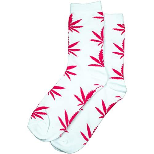 PatchouliWorld Socken, lang, Damen, Gr. 36-42, weiß mit pinken Hanfblättern