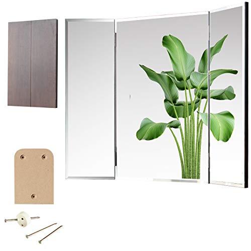 三面鏡 壁掛け クイーン 36×60cm(全開72cm) [賃貸の壁に貼れる鏡・ドレッサー ミラー] ダーク色/取付品一式付