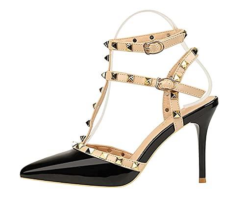 Damen Stilettos Klassische Absatzschuhe High Heels Frauen Pfennigabsatz Mit Nieten und Schnallen (Color : Pink, Size : EU:41/UK:6.5/US: 10)