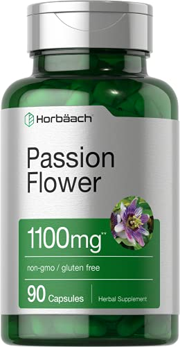 Passion Flower Capsules   1100mg   90 Count   Non-GMO & Gluten Free Extract Supplement   by Horbaach