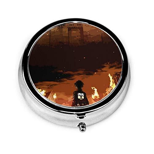 Attack-On-Titan-Season- Mini Pill Case-Pocket Vitamin Decorative Round Box for Travel -3 Compartments Pill Box