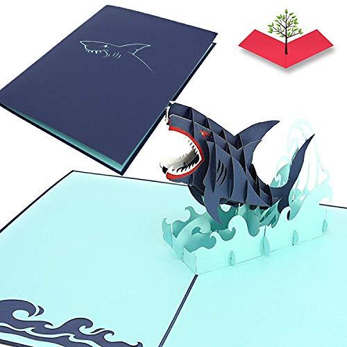 PopLife Cards Gran tarjeta emergente del día de padres del tiburón blanco para todas las ocasiones día de padres, feliz cumpleaños, graduación, retiro, aniversario del trabajo, biólogos marinos