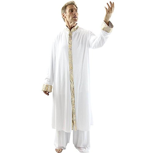 Danzcue Boys Worship Dance Stained Glass Robe, Black-Gold, L-XL