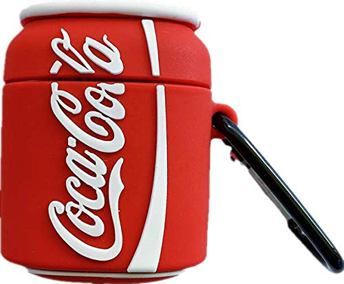 Thick Soft Silicone Cocacola Can Shaped Case with Bag Belt Hook for Apple Airpods 1 2 Red White Color Coca Cola Coke Summer Fresh Protective Creative Fun Girls Kids Boys Men Guys Son Girls