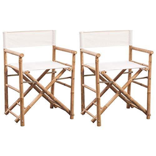 vidaXL 2X Regiestuhl Bambus Gartenstuhl Klappstuhl Stuhl Sessel Gartenmöbel
