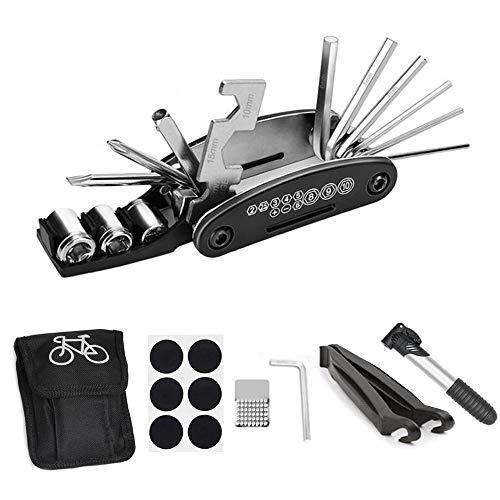 Anyasen Kit Reparation Vélo 16 en 1 Ensemble Bicyclette Réparation Kit Outil Multifonction Trousse d'outils de Vélo avec Rustine Velo, Sac de Rangement