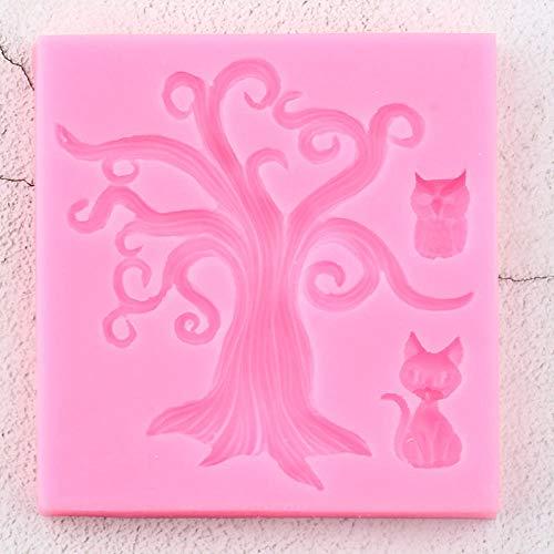 QTMD Formen 3D Kunst Halloween Baum Katze Silikon Schimmel Eule Kuchen Dekorieren Fondant Schimmel Cupcake Backen Fimo Ton Süßigkeiten Schokolade Gumpaste Schimmel
