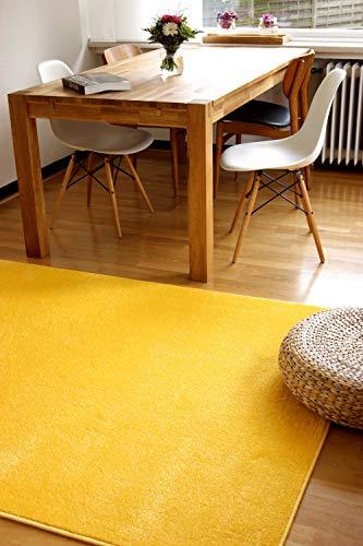 Alfombra Moderna Kolibri Amarillo 200x290cm - Alfombra Pelo Corto Colorida y de fácil Cuidado