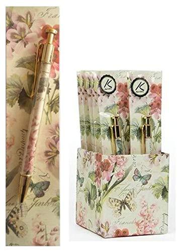 Set regalo con penna e segnalibro, motivo: fiori romantici italiani