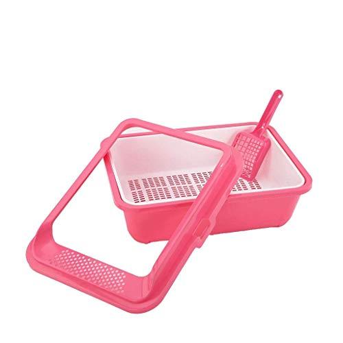 ZHOUM Huisdieren kattenbak/Sifting Toilet/Box High-zijdig Rim Pan Loo (kleur: rood, Maat: 51 * 40 * 18.5cm)