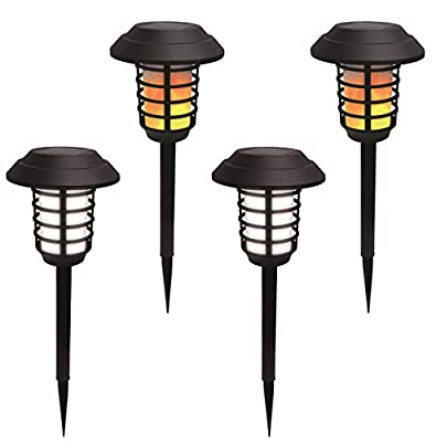 Bell + Howell Smart Solar Pathway Lights 2-in-1, XL Bright White & Flickering Flame Solar Torches Waterproof Outdoor Lighting Landscape Lights Dusk to Dawn Auto On/Off for Garden Patio Yard, 4 Pack
