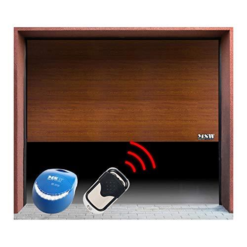 MSW Portone Sezionale Porte per Garage con Telecomando GD2375-S Golden Oak (Apertura 2.375 x 2.150 mm, 4 Sezioni) Quercia Dorata