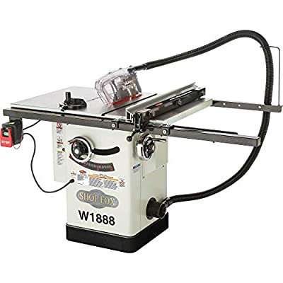"""Shop Fox W1888 10"""" Hybrid Table Saw With Riving Knife, White from Woodstock International"""