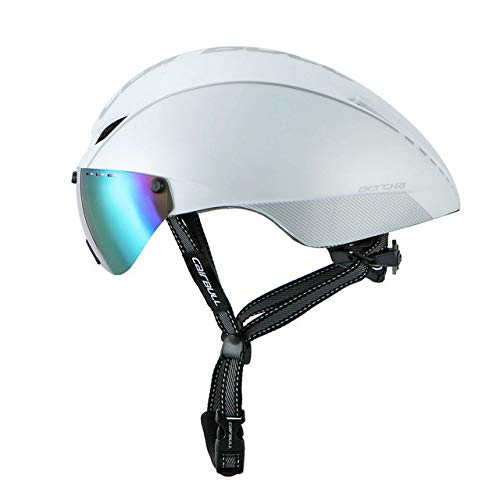 linfei Helm Triathlon Radhelm Mit Für Männer Frauen Sicherheit Rennrad Helm Fahrrad Race Helm 54-60Cm Weiß Silber-1 Linse