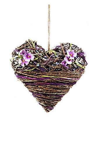 HEITMANN DECO Weiden Herz zum Aufhängen - mit lila Kunstblumen, romantische und hochwertige Frühlingsdeko - Tür- und Wanddeko