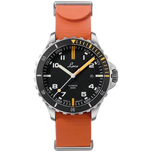 Laco Mojave.RB 862109.RB - Reloj deportivo para hombre (correa de caucho naranja, cristal de zafiro, diámetro de 42 mm, ETA 2824.2 (Elaboré), 25 piedras, automático, incluye estuche)