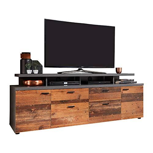 trendteam smart living Wohnzimmer Lowboard Fernsehschrank Fernsehtisch Mood, 180 x 66 x 47 cm Front: Old Wood, Korpus: Matera Melamin mit viel Stauraum, MDF