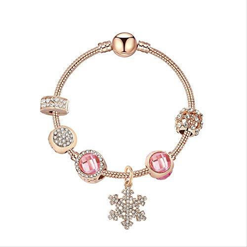 ZLININ Y-longhair High-end Point Diamond Snowflake Pendant Bracelet, Pink Opal DIY Personality Snowflake Bracelet Long 20cm Rose Gold