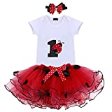 It's My 1st Birthday Outfit Baby Girl Romper Tutu Skirt Headband Clothes 3pcs Set Playwear Casual Cake Smash Red Ladybug