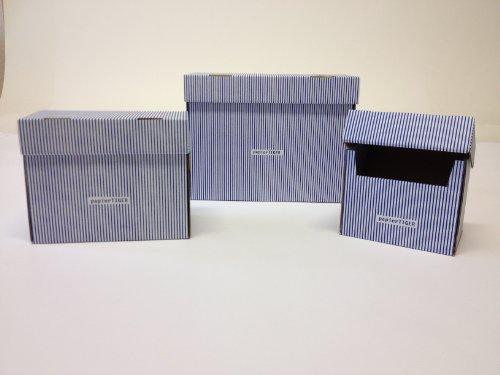4 Papiertiger Karteikästen A5 Karton Streifendesign blws faltbar passend für bis zu 300 Karteikarten