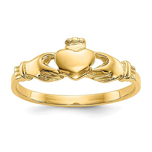14k Yellow Gold Irish Claddagh Celtic Knot Baby Band Ring Size 1.00 Fine Jewelry For Women Gifts For Her