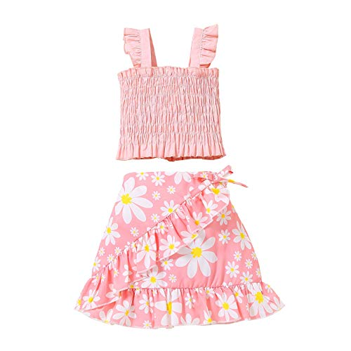 Toddler Baby Girls Ruffle Halter Crop Top+Boho Floral Skirt Dress Summer Outfits Clothes Two Piece Set (Pink Floral,4-5T,)