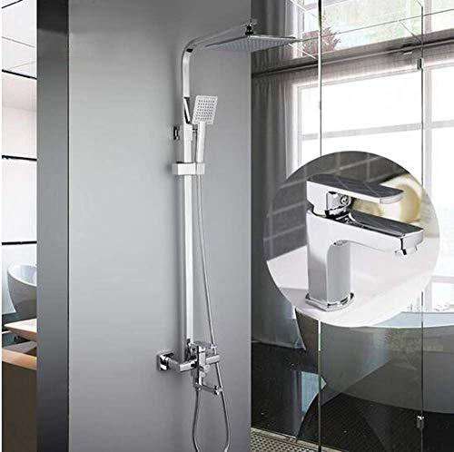 ZLININ Y-longhair - Juego de grifo de ducha con grifo de lavabo con pulverizador de mano montado en la pared de baño de ducha 2420+1064