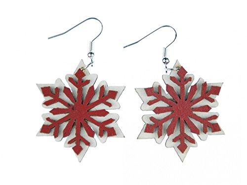 Schneeflocke Ohrringe Miniblings Weihnachten Sterne Holz weiß braun flach